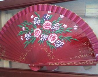Spanish Hand Fan, Spanish Abanicos, Hand Made&Paint Hand Fan, Hand Fan, Abanicos, Floral Motives Hand Fan,Spanish Hand Fan,Spanish Kraft Art