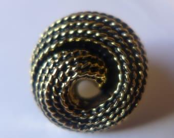 6 Plastic buttons, aspect metal, spiral, gold, black, 23 mm