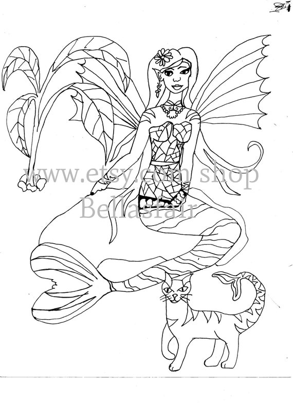 Hand Drawn Winged Mermaid Mythical Coloring Page Coloring