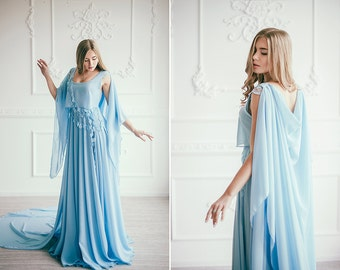Serenity Sky blue wedding gown / Colored wedding dress / Non-traditional bridal gown / Blue prom dress / Bohemian Boho Beach wedding dress
