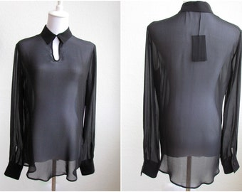 Slightly damaged Small Sheer Silk Black Shirt by Tru Trussardi with certificate--Unworn with tags