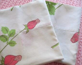 SALE- PINK Long Stem Rose Pillowcase Set