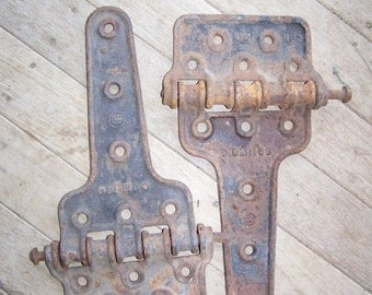 2 Vintage Heavy Barn Door Hinges Large