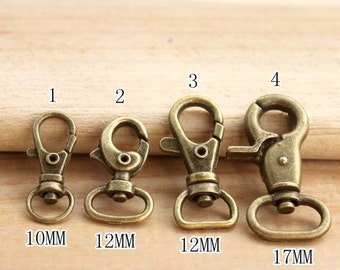Antique Brass Lobster Clasp Buckle for Bag Purse, Chains, Handle or Straps, 10 PCS