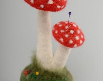 Designer felted wool pincushion Fly Agaric