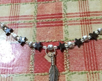 Hermatite & Feather necklace choker