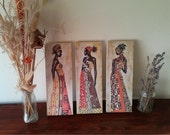 Africa, African girls, Art Print, Wall Decor, Handcrafted from recycled chipboard, For home and office decoration, Wall art