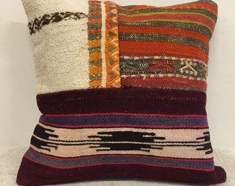 Naturel kilim pillow case,handwoven pillow case,sofa decor,overdyed ,hand made kurdish pillow case,pillow,ethnic pillow