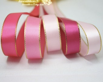 "100 Yards - 1/4"" 6mm Gold Edged Satin Ribbons, Pink Blue Red Green Purple Ivory Wholesale Satin Ribbon, Crafts DIY Hair Bows Ribbon"