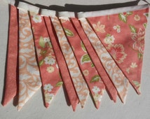 Peach coloured Fabric Bunting, shabby chic style, Rustic Wedding Banner, Baby Shower Flag Garland,  Double Sided Flags