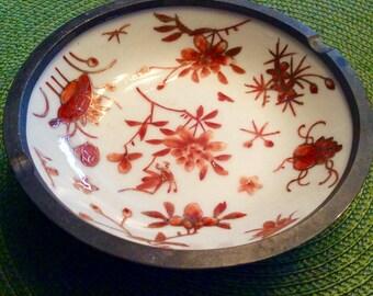 Vintage Hong Kong Porcelain Pewter Ashtray, Hong Kong Pewter, Handpainted Hong Kong Porcelain Dish