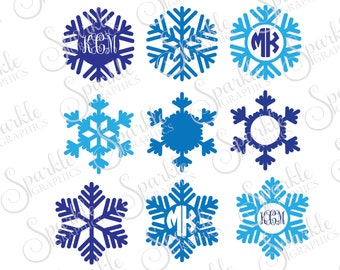 Snowflake Monogram Frame Winter SVG Christmas SVG Snowflakes Monogram  Clipart Svg Dxf Eps Png Silhouette Cricut Cut File Commercial Use