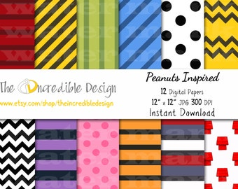 Snoppy, Peanuts, Charlie Brown Inspired digital paper pack for scrapbooking, Making Cards, Tags and Invitations, Instant Download