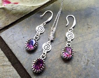 SET, Amethyst Swarovski® Sterling Silver pendant and earrings