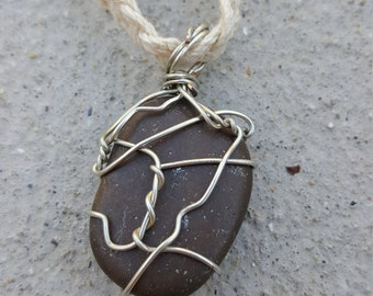 Black/ Dark Brown Wire Wrapped River Stone/ Rock Braided Hemp Necklace