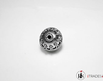 1 Sterling Silver Bead - Round with Bali Ornament 14mm (0.55 inch) - bog015