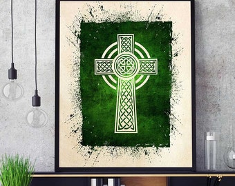 Celtic Cross Wall Art, Christian Gifts, Celtic Cross Print, Celtic Cross Art, Christian Home Decor, Watercolor Celtic Cross (N550)