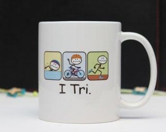 Triathlon Stick Figure Mug, Coffee, Tea Ceramic Mug gift by jevge
