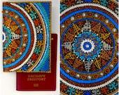 Original Passport Cover, hand-painted Travel Wallet, Passport Covers, Personalized Passport Cover, Leather Wallet, Passports Holder Mandala