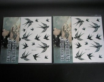 2 Sheets flying birds tattoo stickers
