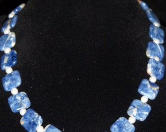 Blue Sodalite & Faux Pearl Necklace