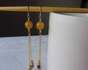 Jade Earrings: Yellow Jade Czech Glass Bead Gold Filled Earrlngs