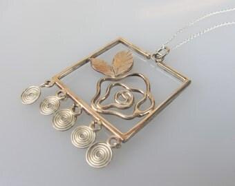 Rose silver pendant , handicraft- Rose pendant , Rose Silver pendant , Unique Silver pendant , Contemporary pendant  , Statement pendant