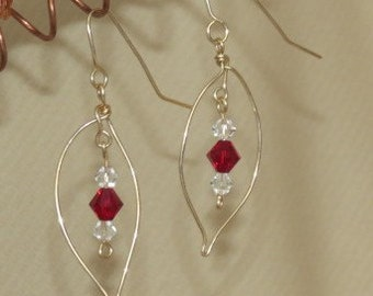 14k Gold Filled Wire/Crystals/Red Swarovski  Beaded Earrings