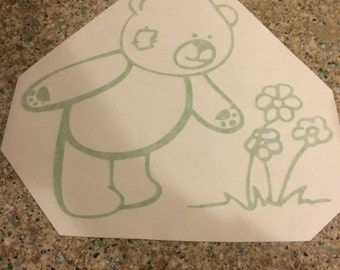 Bear picking flowers decal