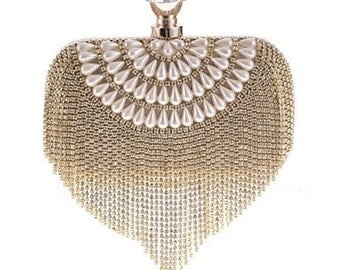 Gold pearl infused evening Purse