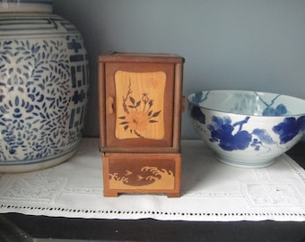 Chinese wooden box open on all four sides