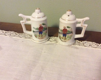 R.C.M.P. (Royal Canadian Mounted Police) beer stein shaped salt and pepper shakers