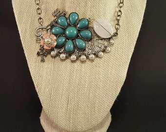 Handcrafted Wired Necklace with flowers
