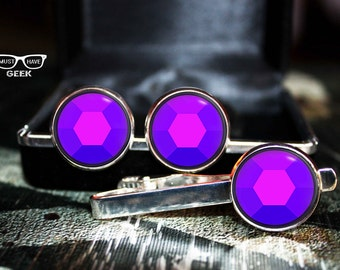 Steven Universe gem Cufflinks SET, Amethyst cuff links and tie clip, Steven Universe amethyst tie clip and cufflinks