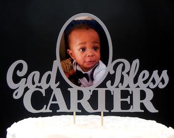 Baptism Cake Topper, Personalized Cake Topper With Name, Custom Name Cake Topper, God Bless Cake Topper, Christening Cake Topper