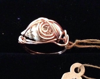 copper wire ring with shell only