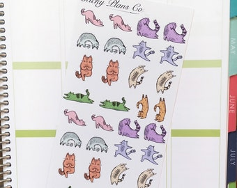 Doodly Yoga Cats Stickers