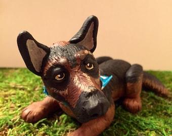 Pet German Shepherd Clay Dog Sculpture