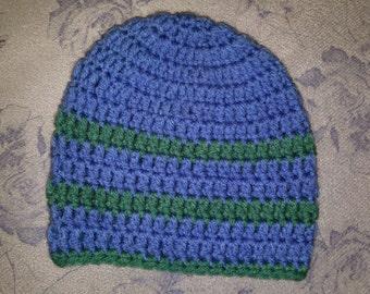 Blue/green stripped toddler beanie