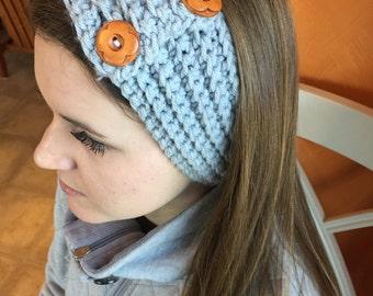Double Button Grey Headband