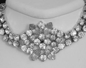 7l: Rhinestone Bracelet by Kramer, N.Y. marked Sterling 1940's