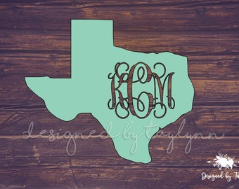 Texas Monogram, State Monogram, Texas Decal, Decal, Yeti Decal, Car Decal, Decals, Monograms, Monogram Decal, ALL STATES AVAILABLE