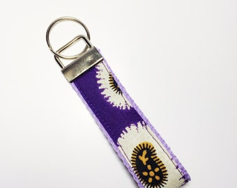 Purple Printed Key Fob // Purple African Print Keychain // Wax Print Cotton Lanyard