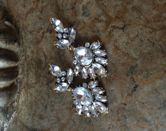 Crystal and antique gold bridal earrings, Vintage look bridal earrings, , bridesmaid earrings,