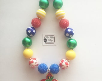 Sweet Apple Schoolhouse/Back to School/Fall Chunky/Bubblegum Bead Necklace