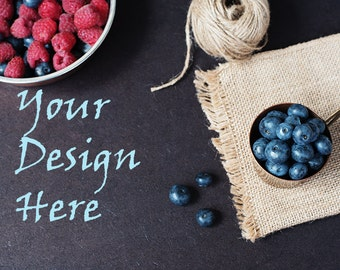 Food Styled Marketing Photography/ Styled Stock Photography/Blog Header Image/Food Mockup/ Blueberries and Raspberries/ Berries Dark photo