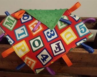 Blocks Tag Blanket - Sensory Blanket - Lovey