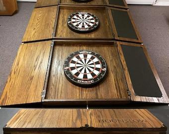 Custom engraved oak dart boards