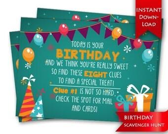 Birthday Scavenger Hunt   Birthday Game   Rhyming clues and blank template to add/edit your own clues {instant download}
