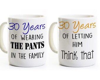 30th Anniversary Gift - Couples Coffee Mugs Cups - His and Hers Coffee Mugs - 30 Years Married - Wedding Anniversary Mugs